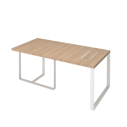 Picture of Narbutas Desk Plana, 1800x900x750 mm, amber oak melamine, white metal, white metal on the wire box