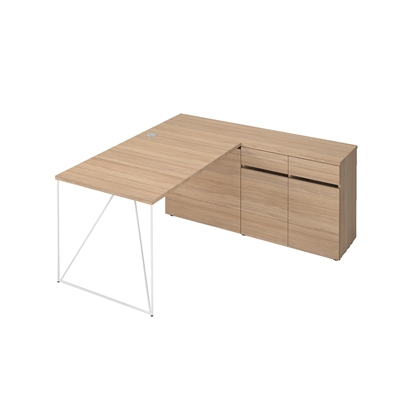 Picture of Narbutas Desk with closed cabinets Air, 1600x800x740 mm, amber oak melamine, white metal