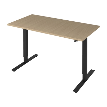 Picture of Narbutas Ergonomic electric desk One, 1400x700x1185 mm, bleached oak melamine, black metal, leg type W