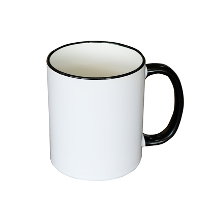Picture of Cup, ceramic, white, with black handle