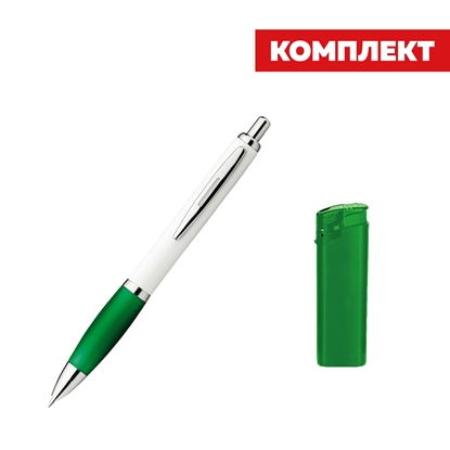 Picture of Digit Set ballpoint pen and plastic lighter ЕB-15, green, with a free onecolored stamp