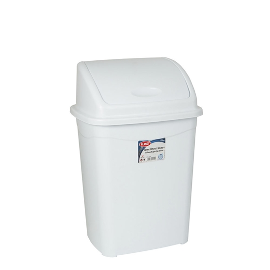 Picture of Planet Waste-bin with swinging cover, 16 L, white