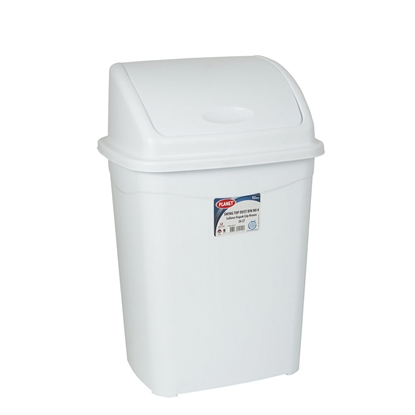 Picture of Planet Waste-bin with swinging cover, 26 L, white