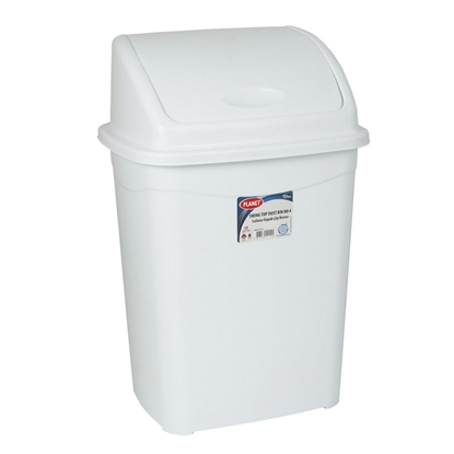 Picture of Planet Waste-bin with swinging cover, 50 L, white