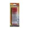 Picture of Office 1 Superstore Ballpoint pen, 1.0 mm, transparent casing, red, 4 pcs.