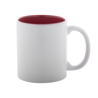 Picture of Cup, ceramic, white, with red inside