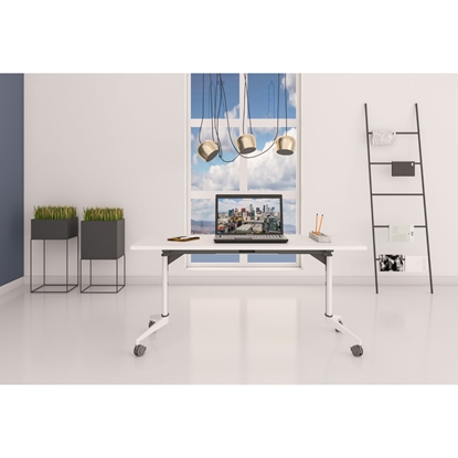 Picture of RFG Ergonomic electric desk Flip 160 x 80 x, white metal legs, amber-coloured board
