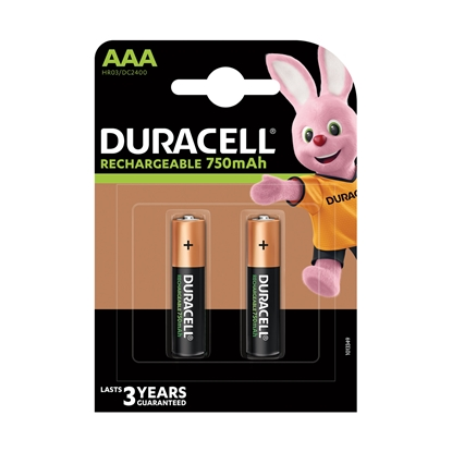 Picture of Duracell rechargeable battery, NiMH, AAA, HR03, 750 mAh, 1.2 V, 4 pcs