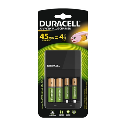 Picture of Duracell battery device CEF14, for 4 bateries AA or AAA, with added bateries