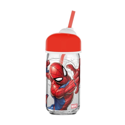 Picture of Disney Water bottle Spiderman, with a straw, CC, 370 ml