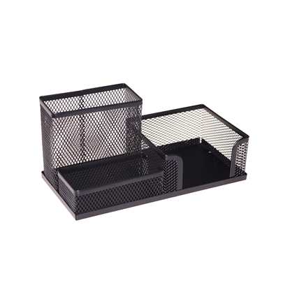 Picture of Desk organiser, with 3 divisions, meshwork, metal, black