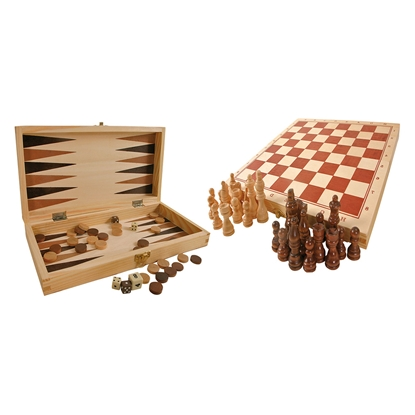 Picture of Chess, backgammon and dice games, 3 in 1, in a wooden box