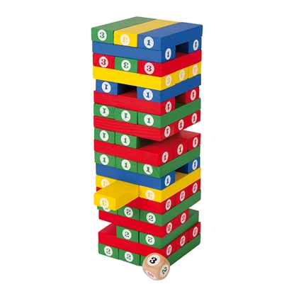 Picture of Game Jenga, color, with numbers, 58 parts