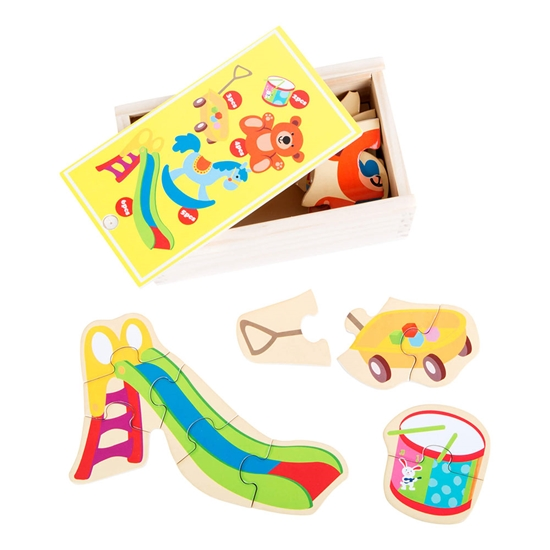 Picture of Puzzle My favorite toys, in a wooden box, 5 pieces, 20 pieces