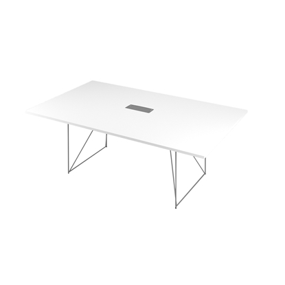 Picture of Narbutas Conference table  Air, 2200 x1300 x740 mm, white Melamine, grey metal