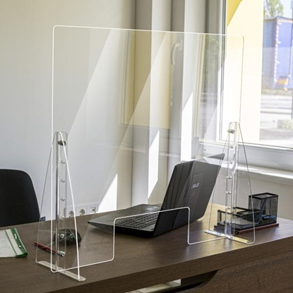 Picture of Protective screen, with plexiglass holders, 900 x 800 mm
