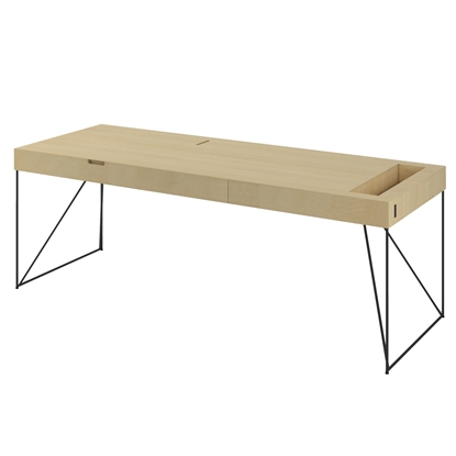 Picture of Narbutas Desk Air Executive, 2200x800x740 mm, maple veneer, black metal
