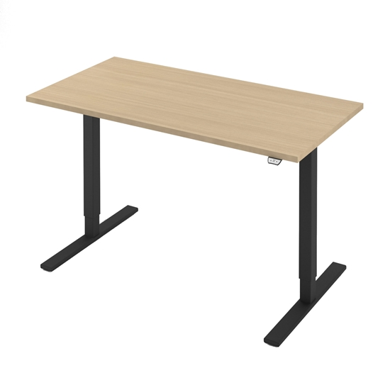 Picture of Narbutas Height-adjustable desk One, electric, 1400x700x1185 mm, bleached oak melamine, black metal, keg type I
