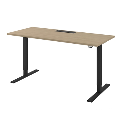 Picture of Narbutas Ergonomic electric desk One, 1400x700x1185 mm, bleached oak melamine, black metal, leg type I