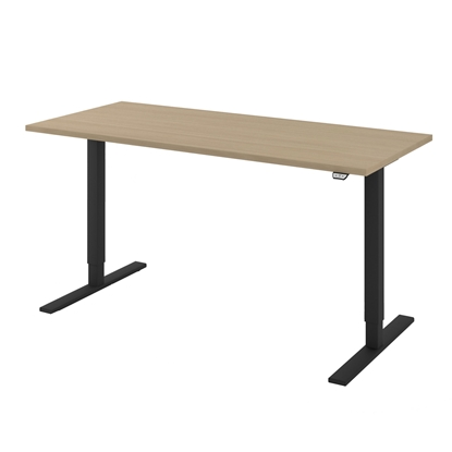 Picture of Narbutas Height-adjustable desk One, electric, 1600x700x1185 mm, bleached oak melamine, black metal, leg type I
