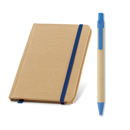Picture of Set eco notebook and eco ballpoint pen Cartoon, blue, 50 pcs.