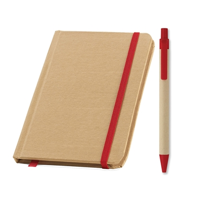 Picture of Set eco notebook Evernote and eco ballpoint pen Cartoon, red, 50 pcs.