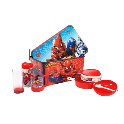 Picture of Disney Set Spiderman, storage box 20 L, lunch box 1 L, bottle with a straw 370 ml, pillow, glass, cup 280 ml