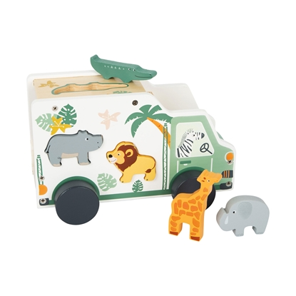 Picture of Small Foot Safari Car, for animal embedding, wooden, 23 x 13 x 14 cm