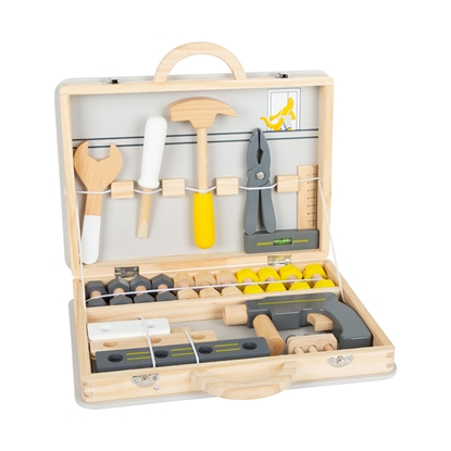 Picture of Small Foot Case with tools, wooden, 33 x 6 x 27 cm, 44 pcs.