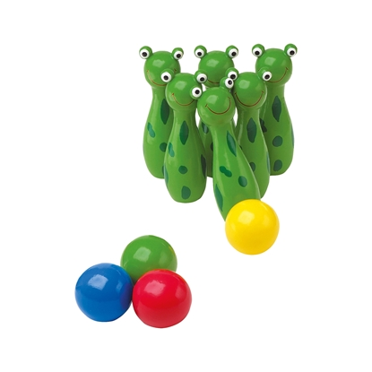 Picture of Small Foot Bowling Frogs, for children, wooden, 10 pcs.