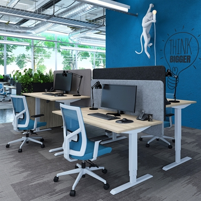 Picture of RFG Ergonomic electric desk 160 x, 80 cm, white metal legs, amber-coloured board