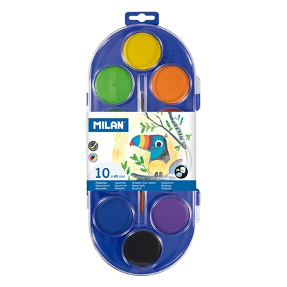 Picture of Milan Watercolours, 45 mm, 10 colours, with a paint brush included