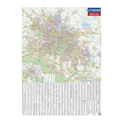 Picture of DataMap Sofia wall map, 100 x 140 cm, laminated, scale 1:20 000