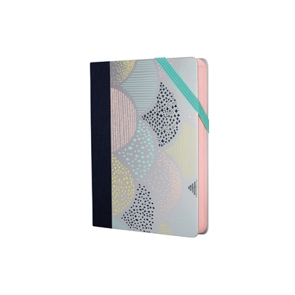 Picture of Milan Notebook Silver, dot pattern, with elastic band, small, 80 g, 104 sheets, 7 pcs.