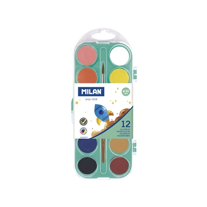Picture of Milan Watercolours, 30 mm, 12 colours, with a paint brush included, package of 12
